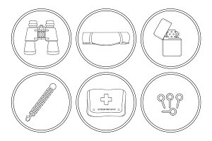 Camping. 6 icons set. Vector