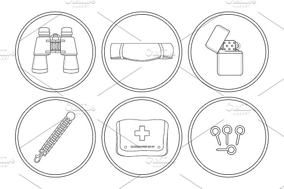 Camping. 6 icons set. Vector - Icons