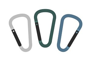 Set of carabiner icons. Vector