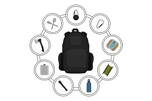 Traveler backpack contents. Vector