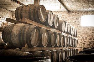 wine barresl stacked