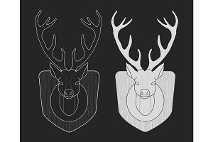 Deer head hunting trophy. Vector