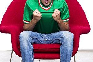 young man whit green shirt