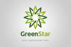 Green star logo template