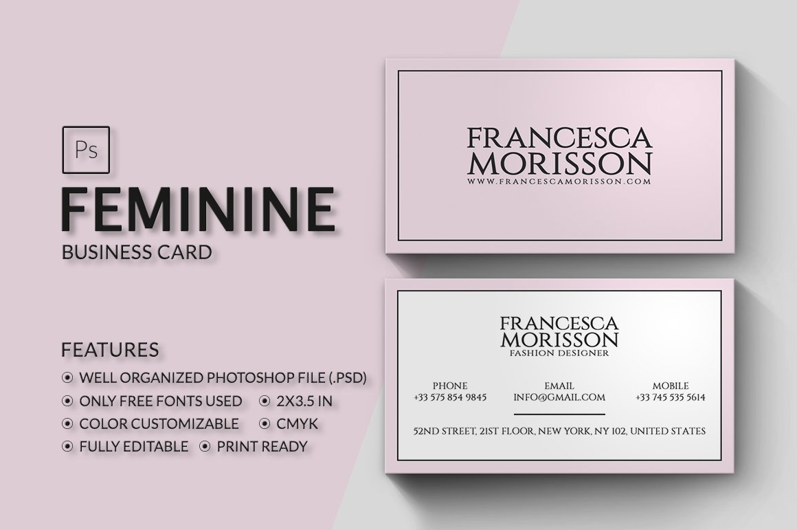 Feminine Business Card ~ Business Card Templates ~ Creative Market