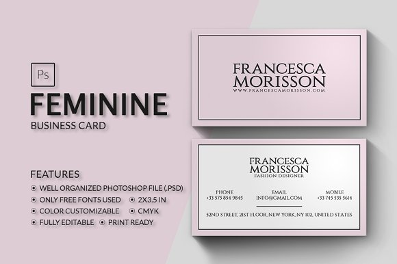Feminine business card business card templates creative market reheart Image collections
