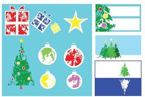 Sponge Print Christmas Set