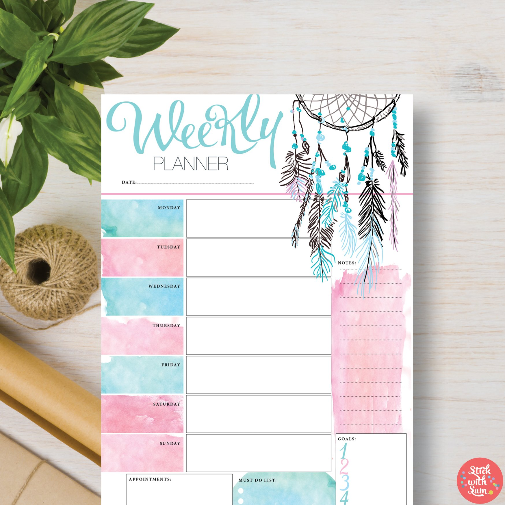 Cute Printable Weekly Planners Planner Template Simple Facile Dream Catcher A4 A5 Stationery Templates Creative Market