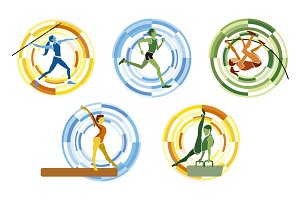 Sports disciplines illustrations