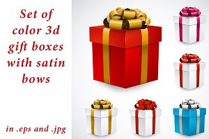 Set of 3d gift boxes with satin bows