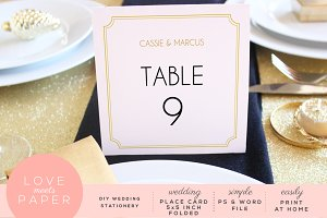 Table Place Card Template PC3001