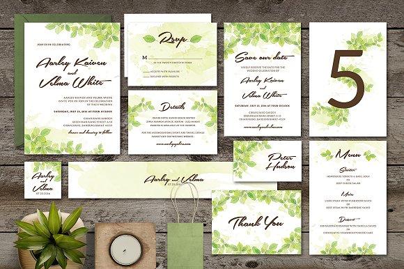 leaf wedding invitation set invitation templates creative market