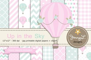 Hot Air Balloon Digital Paper Clipar