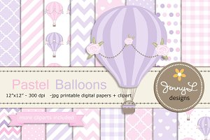 Pastel Hot Air Balloon Digital Paper