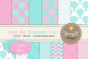 Hot Air Balloon Digital Papers