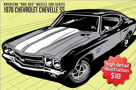 American Muscle Car Chevrolet Ss Illustrations Creative Market