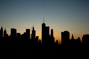 Manhattan view at sunset