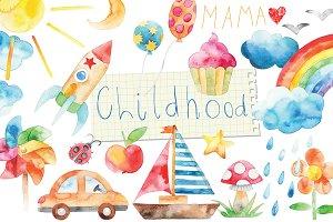 watercolor happy childhood set