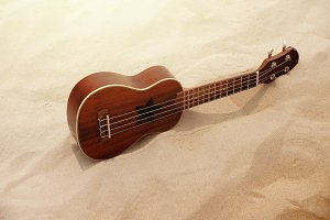 Ukulele Guitar on the Sand Beach