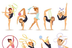 Gymnast girl vector illustration