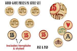 Wood Game Pieces PS Styles +Bonus
