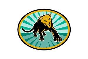 Lioness Big Cat Pouncing Retro