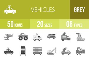 50 Vehicles Greyscale Icons