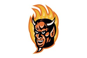 Demon Devil Horns Fire Retro