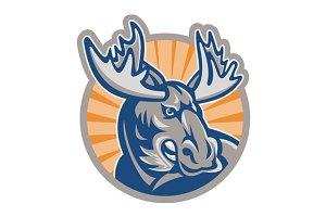 Angry Moose Mascot Retro