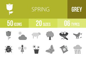 50 Spring Greyscale Icons