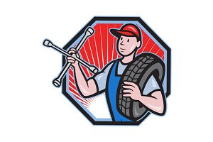 Mechanic With Tire Socket Wrench