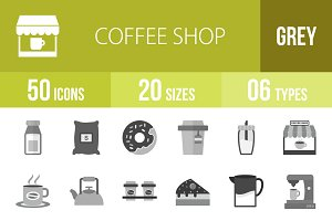 50 Coffee Shop Greyscale Icons