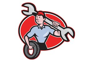 Mechanic With Spanner And Tire Oval