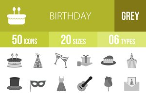 50 Birthday Greyscale Icons