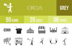 50 Circus Greyscale Icons
