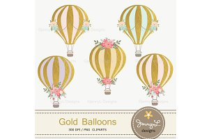 Gold Hot Air Balloon Clipart