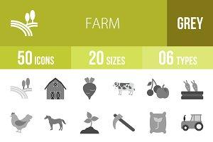 50 Farm Greyscale Icons