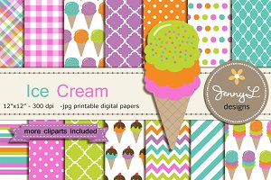 Ice Cream Digital Papers and Clipart