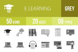 50 E Learning Greyscale Icons