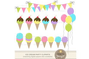 Ice Cream Party Cliparts
