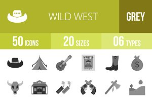 50 Wild West Greyscale Icons