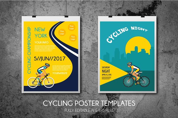 2 cycling poster templates illustrations creative market