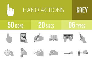 50 Hand Actions Greyscale Icons