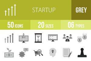 50 Startup Greyscale Icons