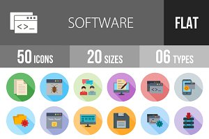50 Software Flat Shadowed Icons