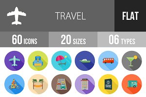 60 Travel Flat Shadowed Icons