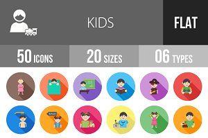 50 Kids Flat Shadowed Icons