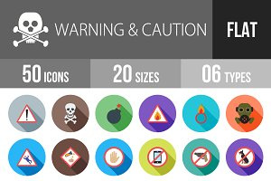 50 Warning Flat Shadowed Icons
