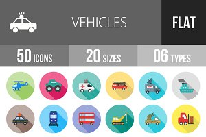 50 Vehicles Flat Shadowed Icons