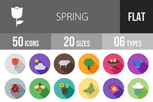 50 Spring Flat Shadowed Icons